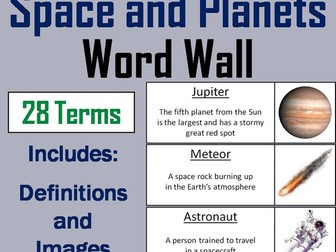 Space and the Solar System Word Wall Cards