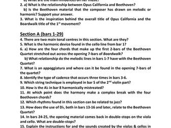 Analysis Worksheets for Sally Beamish's Opus California (I. Boardwalk & IV. Natural Bridges)
