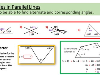 Angles in Parallel Lines Observed Lesson