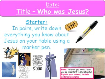 Year 8 Lessons on Jesus 1-2- Who was Jesus & Parables