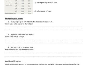 Functional Skills Exam Revision Worksheet-L1:Money/decimals