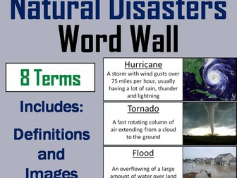Natural Disasters Word Wall Cards