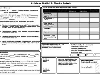 AQA Chemistry GCSE - Revision Mats/Grids for Unit 8 chemical analysis, flames, purity, spectra PPTX