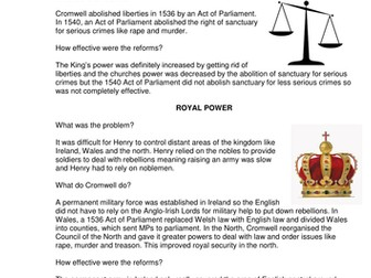 GCSE History: Henry VIII and His Ministers L8, Cromwell's reforms