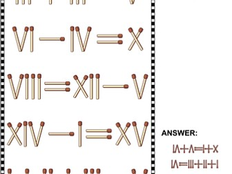math puzzles with roman numerals and matchsticks sets 1 2 3 4 by