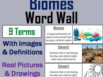 Biomes Word Wall Cards