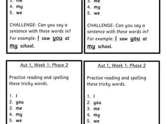 EYFS spelling scheme