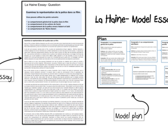 La Haine- Model essays (2)- A Level French (Questions from AQA paper summer 2017) (lot4)