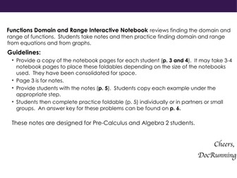 Domain and Range Interactive Notebook