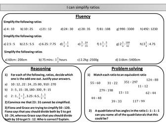 Simplifying ratios - mastery worksheet
