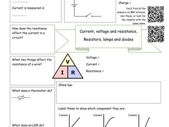 Bitesize physics revision worksheets electricity energy waves and bitesize electricity revision current voltage and resistance lamps and diodes ccuart Image collections
