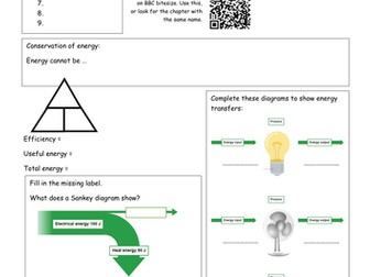 Bitesize Energy revision - Energy transfers and efficiency
