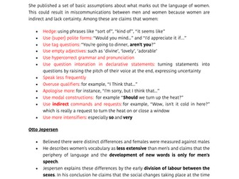 gender revision and example essay answer  a level english language  language and gender revision summary sheet