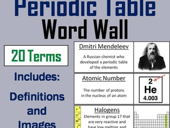 Periodic Table Word Wall Cards