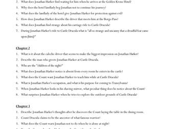 Dracula Comprehension Questions Worksheets