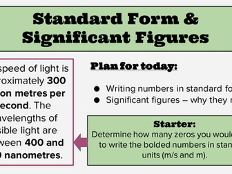 KS4 Lesson: Standard Form and Significant Figures