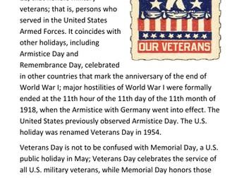 Veterans Day USA Handout