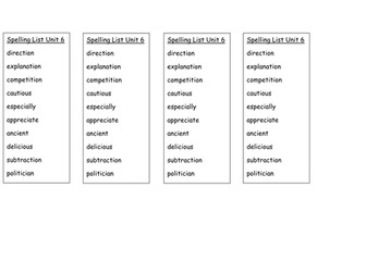Year 6 Spelling Lists