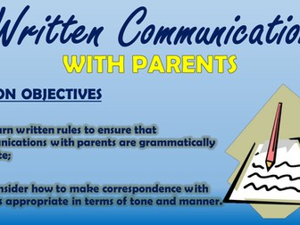 Written Communication with Parents - CPD Session!