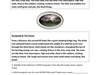 Descriptive writing series of lessons AQA English Paper 1 Question 5
