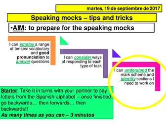 Spanish new GCSE Speaking tips and tricks PPT and handout documents