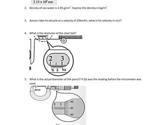 Unit Conversion, Prefixes, Density, Micrometer Screw Gauge ...