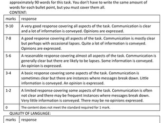 New Spanish GCSE -Theme 3 (Current and future study and employment) writing exam and feedback sheets