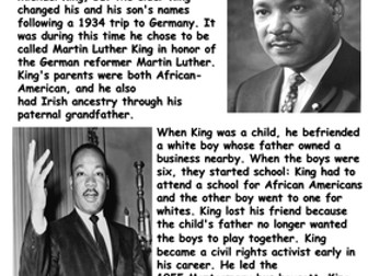 Martin Luther King Jr. Reading Comprehension Sample