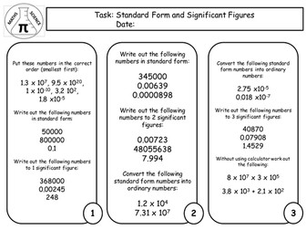 Science Skill Task  on Standard Form and Significant Figures