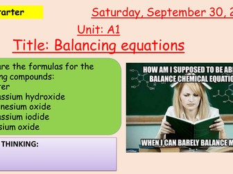 Pearson BTEC New specification-Applied science-Unit 1-Balancing equations-1