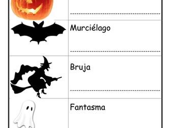 Halloween worksheets in Spanish.
