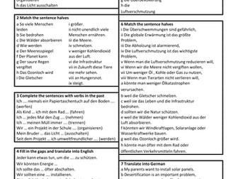 Die Umwelt Environment GCSE German vocabulary revision