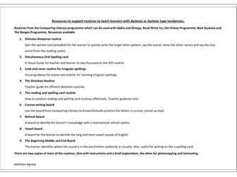 Resources to support multisensory routines for teaching learners with dyslexia