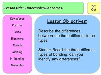Level 3 BTEC - Intermolecular Forces