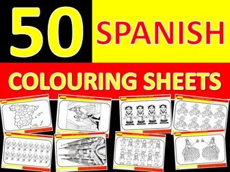 50 x Spanish Colouring Sheets Keyword Starter Settler Cover Lesson Spain End of Term Fun Activity