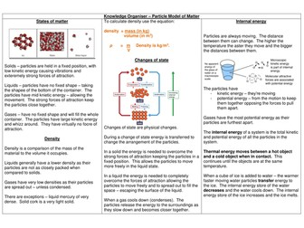 AQA 9 - 1 GCSE Physics Paper ONE - Knowledge Organiser - Particle Model of Matter