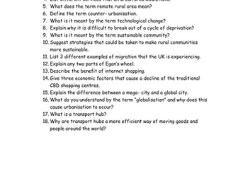 Theme 2 Rural- Urban Links. WJEC Quick Fire Questions