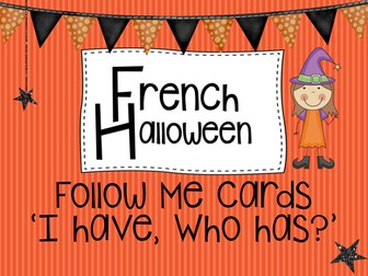 French Halloween Follow me cards and wall words