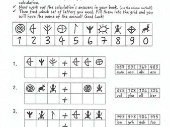 Stone Age Boy maths investigation column addition