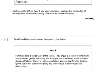 AQA AS Sociology- Families and Households: Feminism 20 mark Essay
