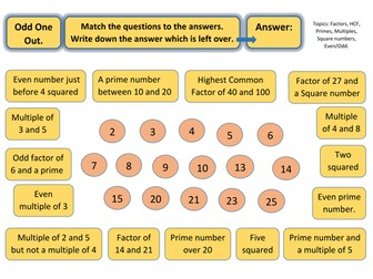 Odd One Out Worksheet - Prime numbers, multiples, squares, factors