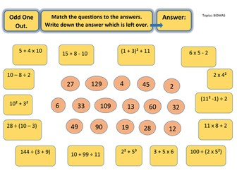 Odd One Out Puzzle Worksheet - BIDMAS
