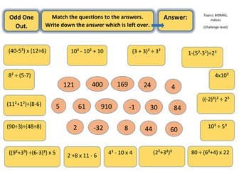 Odd One Out Puzzle Worksheet BIDMAS (challenging)