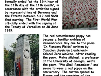Remembrance Day Reading Comprehension