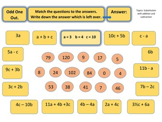 Odd one out puzzle worksheet- Algebra Substitution with adding and subtracting