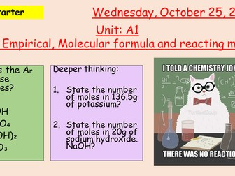 Pearson BTEC New specification-Applied science-Unit 1-Empirical Formula