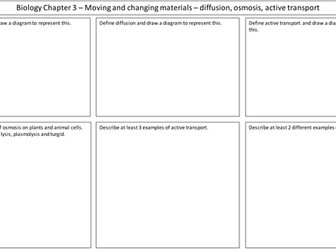 NEW AQA 2016 GCSE Trilogy Biology revision mat moving and changing material