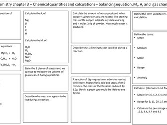 NEW AQA 2016 GCSE Trilogy Chemistry chemical quantities and calculations
