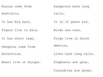 Japanese: Describing Animals Sentence Match-Ups