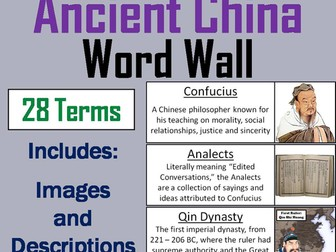 Ancient China Word Wall Cards